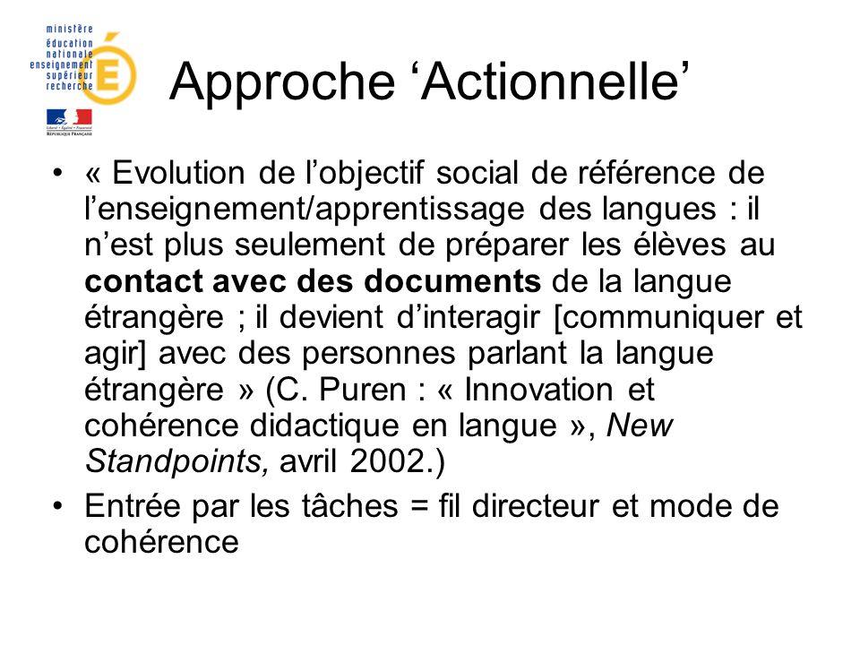 Approche Actionnelle « Evolution de lobjectif social de référence de lenseignement/apprentissage des langues : il nest plus seulement de préparer les