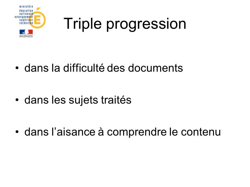 Triple progression dans la difficulté des documents dans les sujets traités dans laisance à comprendre le contenu