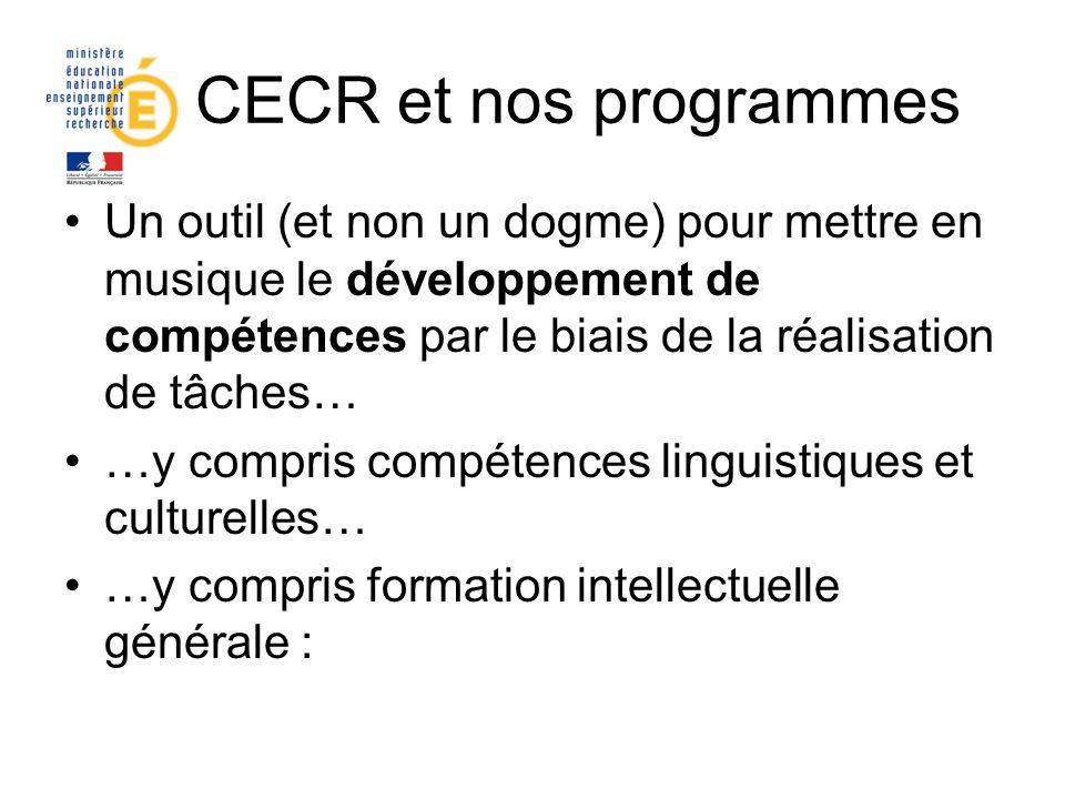 Le CECR et nos programmes Un outil (et non un dogme) pour mettre en musique le développement de compétences par le biais de la réalisation de tâches…