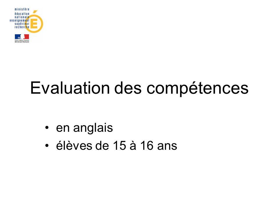 Evaluation des compétences en anglais élèves de 15 à 16 ans