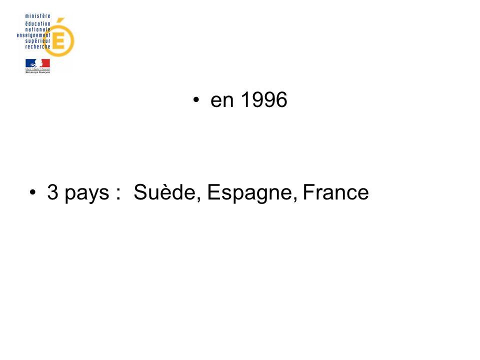 en 1996 3 pays : Suède, Espagne, France