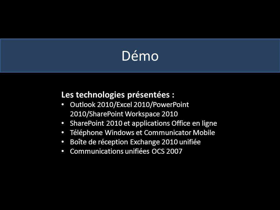 Démo Les technologies présentées : Outlook 2010/Excel 2010/PowerPoint 2010/SharePoint Workspace 2010 SharePoint 2010 et applications Office en ligne Téléphone Windows et Communicator Mobile Boîte de réception Exchange 2010 unifiée Communications unifiées OCS 2007