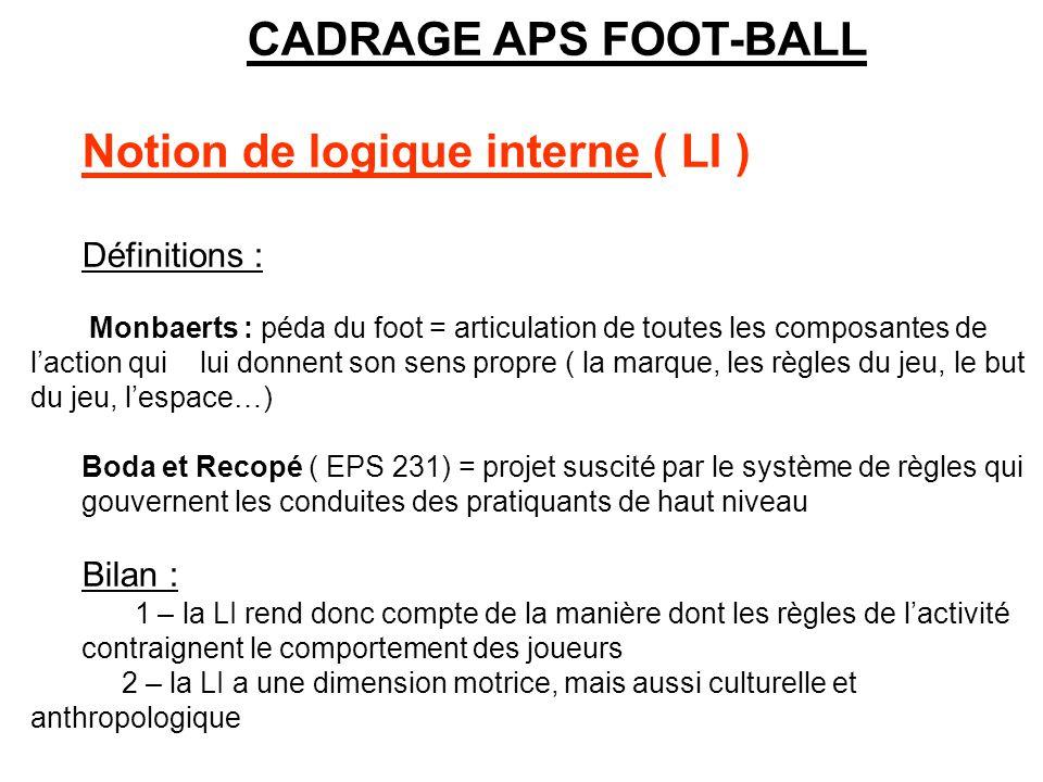 CADRAGE APS FOOT-BALL Notion de logique interne ( LI ) Définitions : Monbaerts : péda du foot = articulation de toutes les composantes de laction qui