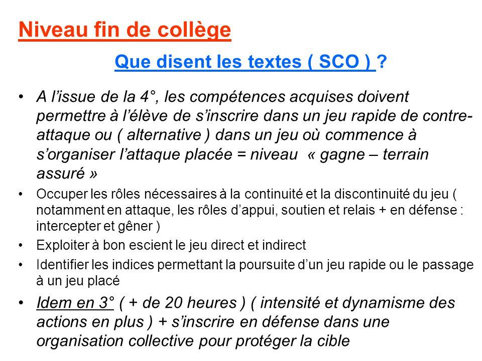 Niveau fin de collège Que disent les textes ( SCO ) ? A lissue de la 4°, les compétences acquises doivent permettre à lélève de sinscrire dans un jeu