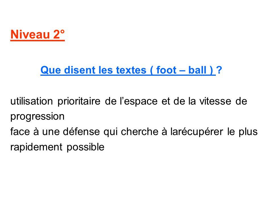 Niveau 2° Que disent les textes ( foot – ball ) ? utilisation prioritaire de lespace et de la vitesse de progression face à une défense qui cherche à