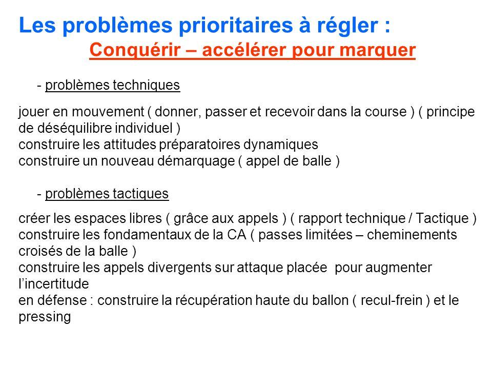 Les problèmes prioritaires à régler : Conquérir – accélérer pour marquer - problèmes techniques jouer en mouvement ( donner, passer et recevoir dans l