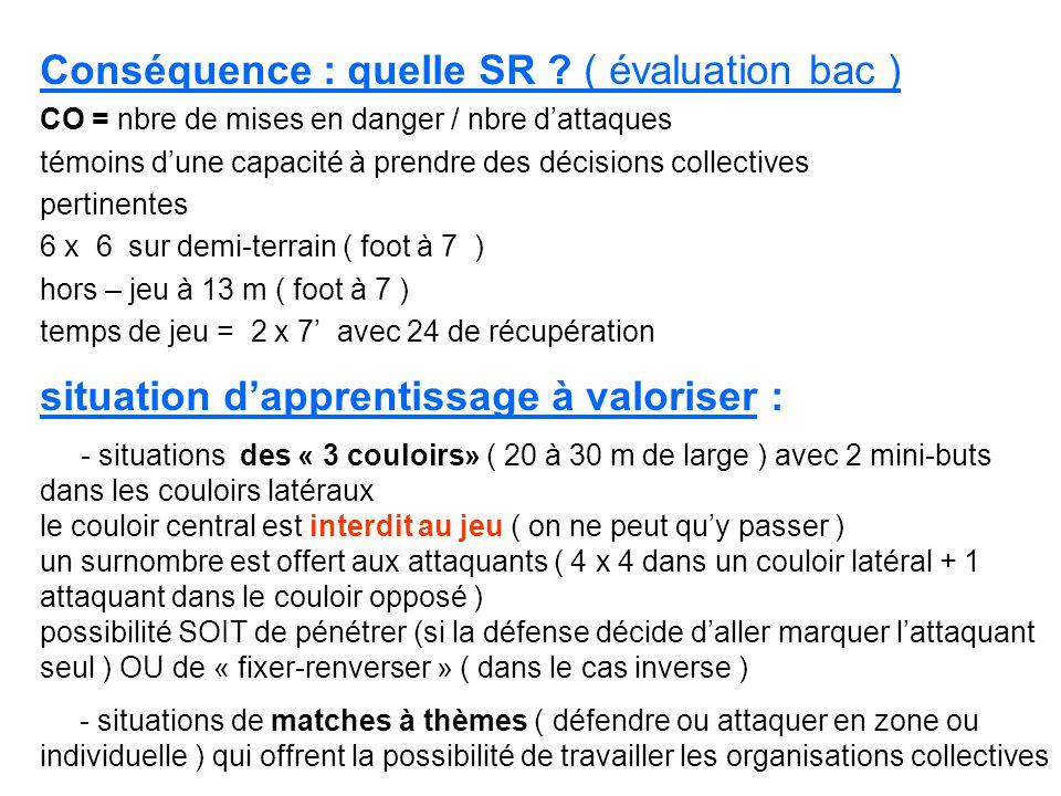 Conséquence : quelle SR ? ( évaluation bac ) CO = nbre de mises en danger / nbre dattaques témoins dune capacité à prendre des décisions collectives p