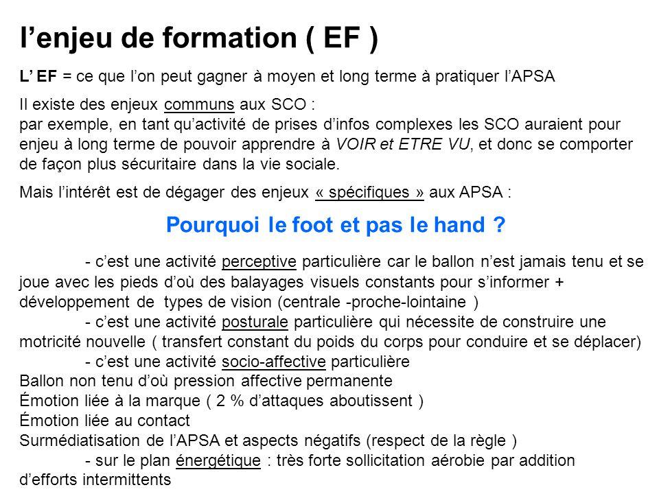 lenjeu de formation ( EF ) L EF = ce que lon peut gagner à moyen et long terme à pratiquer lAPSA Il existe des enjeux communs aux SCO : par exemple, e