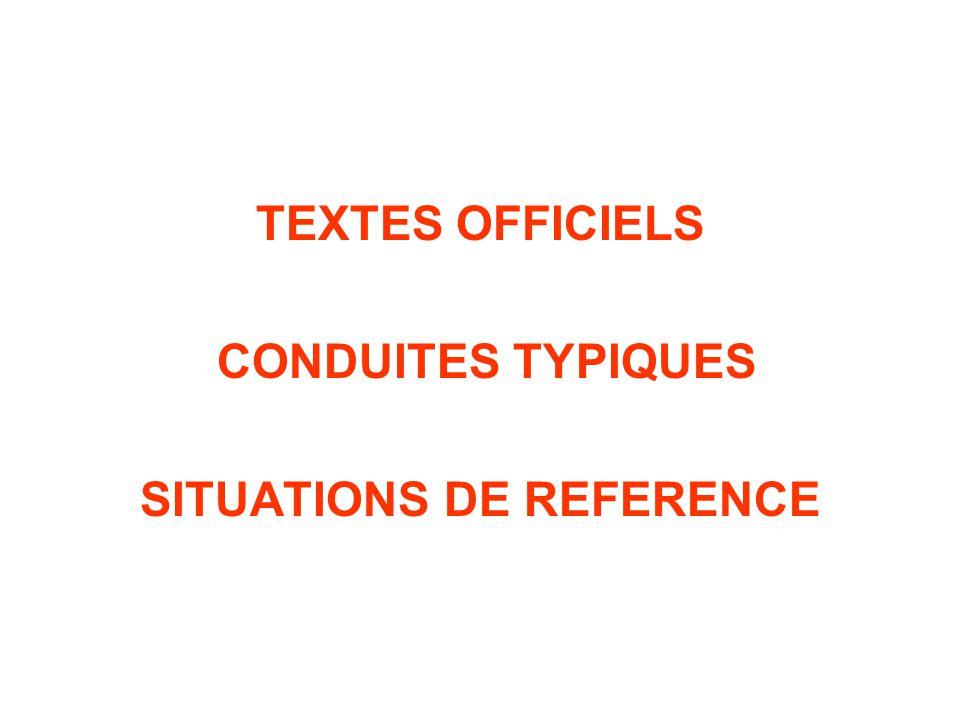 TEXTES OFFICIELS CONDUITES TYPIQUES SITUATIONS DE REFERENCE