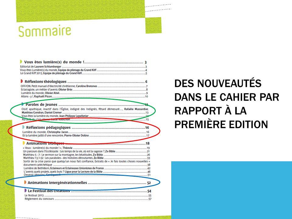 DES NOUVEAUTÉS DANS LE CAHIER PAR RAPPORT À LA PREMIÈRE EDITION