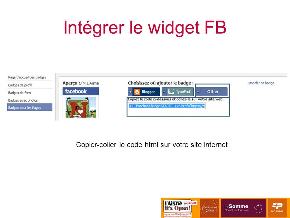 Copier-coller le code html sur votre site internet