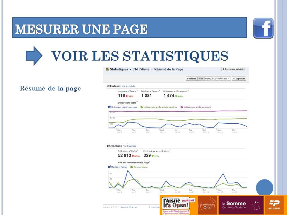 VOIR LES STATISTIQUES Résumé de la page