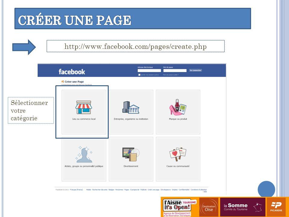 CRÉER UNE PAGE http://www.facebook.com/pages/create.php Sélectionner votre catégorie
