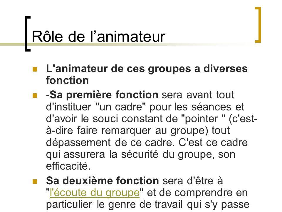 Rôle de lanimateur L'animateur de ces groupes a diverses fonction -Sa première fonction sera avant tout d'instituer