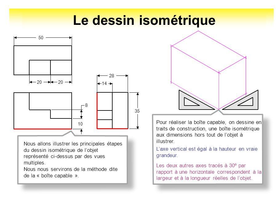 20 50 10 8 14 28 35 Nous allons illustrer les principales étapes du dessin isométrique de lobjet représenté ci-dessus par des vues multiples. Nous nou