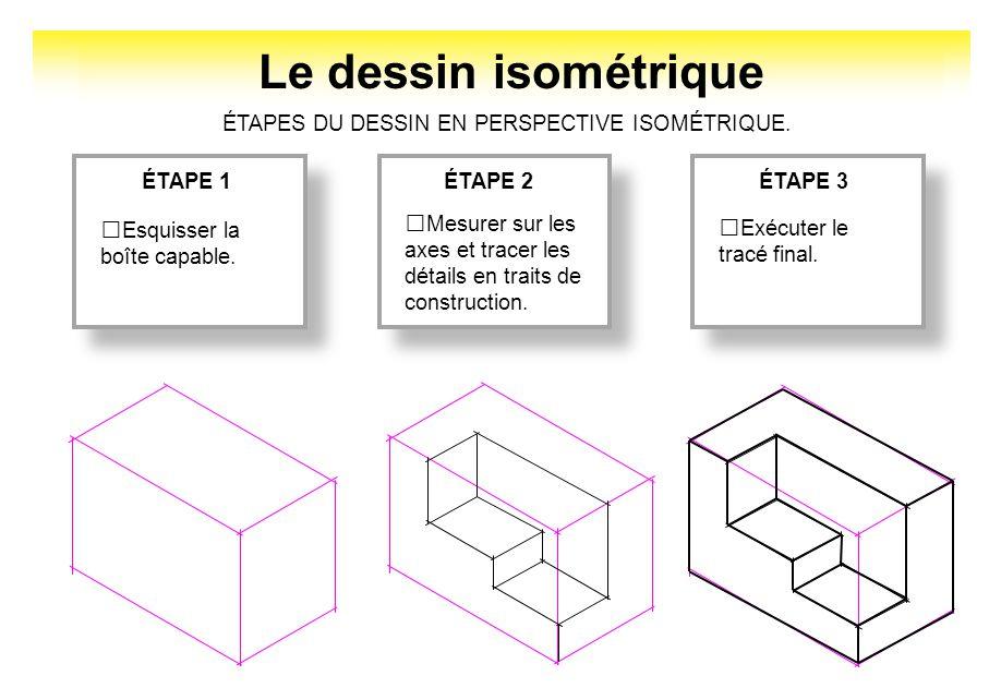 Le dessin isométrique ÉTAPE 1ÉTAPE 2ÉTAPE 3 Esquisser la boîte capable. ÉTAPES DU DESSIN EN PERSPECTIVE ISOMÉTRIQUE. Mesurer sur les axes et tracer le