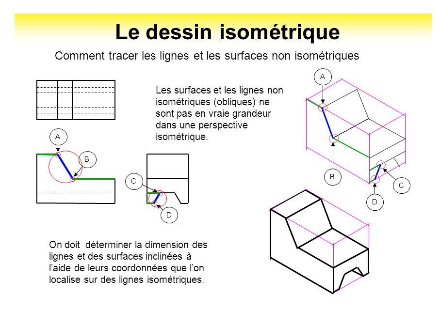 Le dessin isométrique Comment tracer les lignes et les surfaces non isométriques Les surfaces et les lignes non isométriques (obliques) ne sont pas en