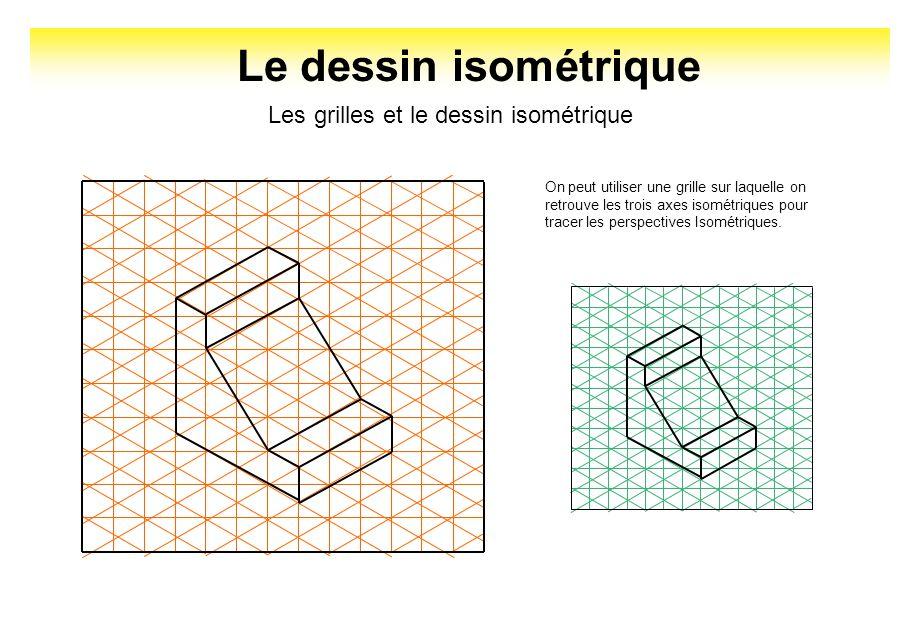 Le dessin isométrique Les grilles et le dessin isométrique On peut utiliser une grille sur laquelle on retrouve les trois axes isométriques pour trace
