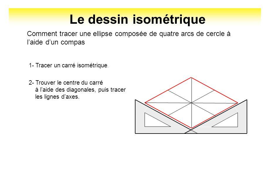 Le dessin isométrique Comment tracer une ellipse composée de quatre arcs de cercle à laide dun compas 1- Tracer un carré isométrique. 2- Trouver le ce