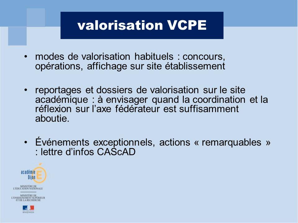 valorisation VCPE modes de valorisation habituels : concours, opérations, affichage sur site établissement reportages et dossiers de valorisation sur