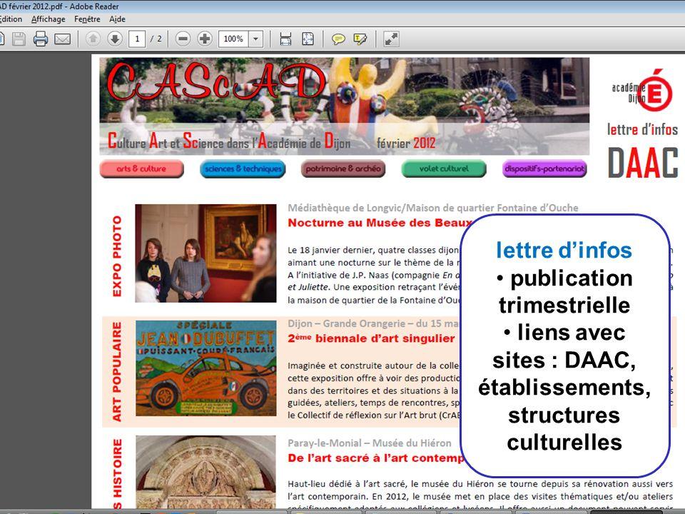 11 lettre dinfos publication trimestrielle liens avec sites : DAAC, établissements, structures culturelles