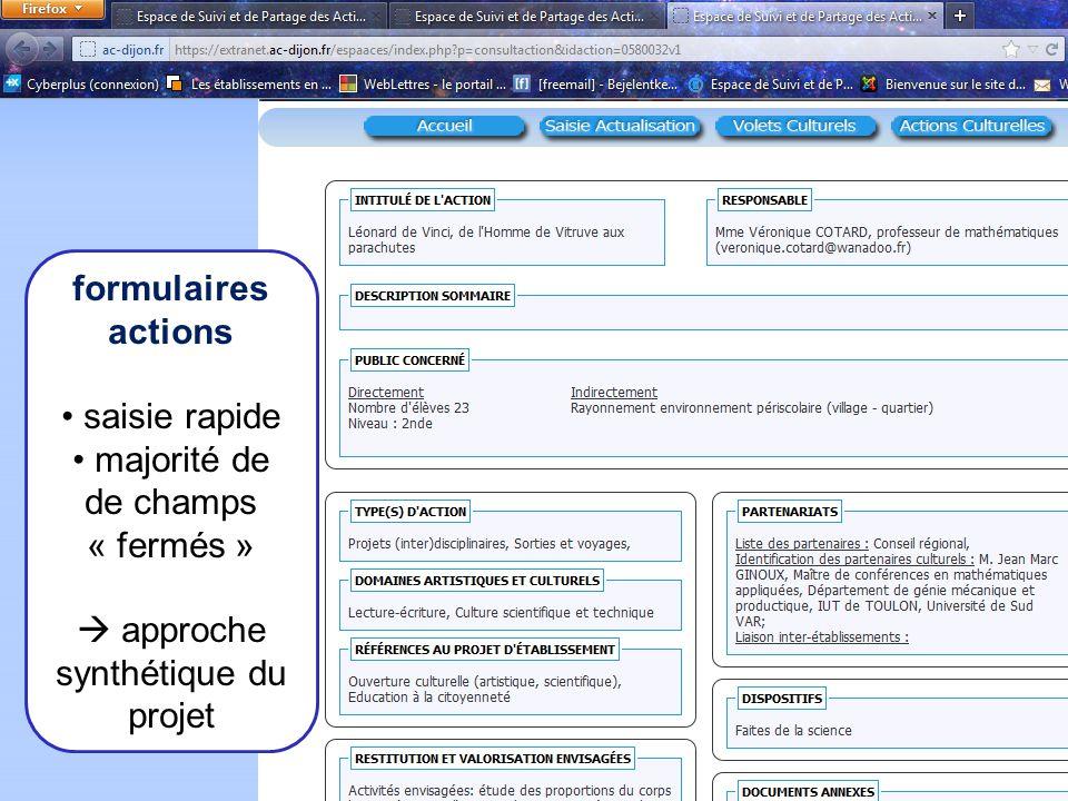 coordination VCPE Le recensement des actions fait émerger des spécificités propres à létablissement : domaines représentés, thèmes récurrents, types dactions privilégiés… permettant lélaboration daxes fédérateurs en lien avec les objectifs du PE.