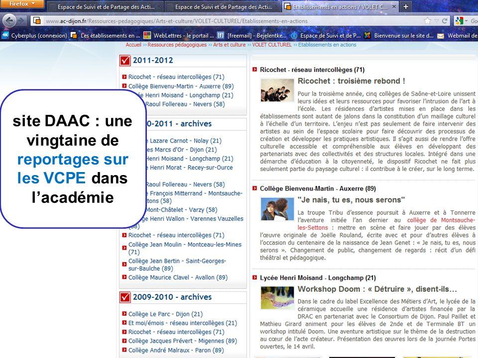 9 site DAAC : une vingtaine de reportages sur les VCPE dans lacadémie