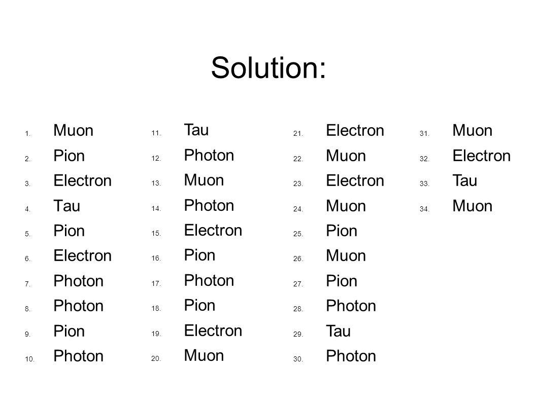 Solution: Muon Pion Electron Tau Pion Electron Photon Pion Photon Tau Photon Muon Photon Electron Pion Photon Pion Electron Muon Electron Muon Electron Muon Pion Muon Pion Photon Tau Photon Muon Electron Tau Muon