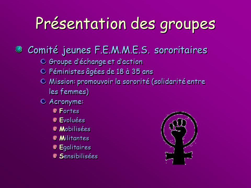 Présentation des groupes Comité jeunes F.E.M.M.E.S. sororitaires Groupe déchange et daction Féministes âgées de 18 à 35 ans Mission: promouvoir la sor