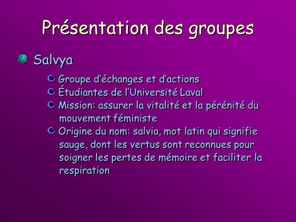 Présentation des groupes Salvya Groupe déchanges et dactions Étudiantes de lUniversité Laval Mission: assurer la vitalité et la pérénité du mouvement