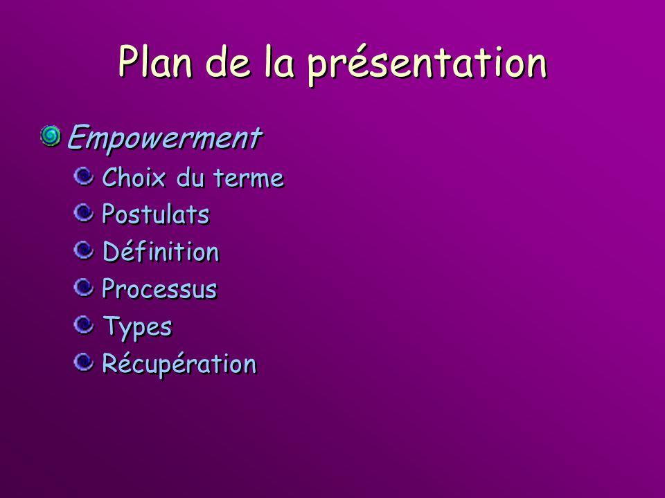 Plan de la présentation Empowerment Choix du terme Postulats Définition Processus Types Récupération Empowerment Choix du terme Postulats Définition P