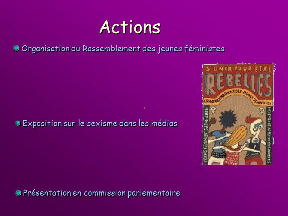 Actions Exposition sur le sexisme dans les médias Présentation en commission parlementaire Organisation du Rassemblement des jeunes féministes