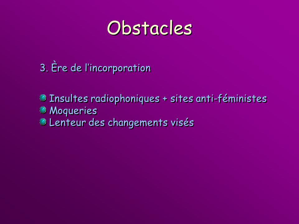 Obstacles Insultes radiophoniques + sites anti-féministes Moqueries Lenteur des changements visés Insultes radiophoniques + sites anti-féministes Moqu