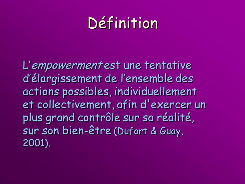 Définition Lempowerment est une tentative délargissement de lensemble des actions possibles, individuellement et collectivement, afin d'exercer un plu