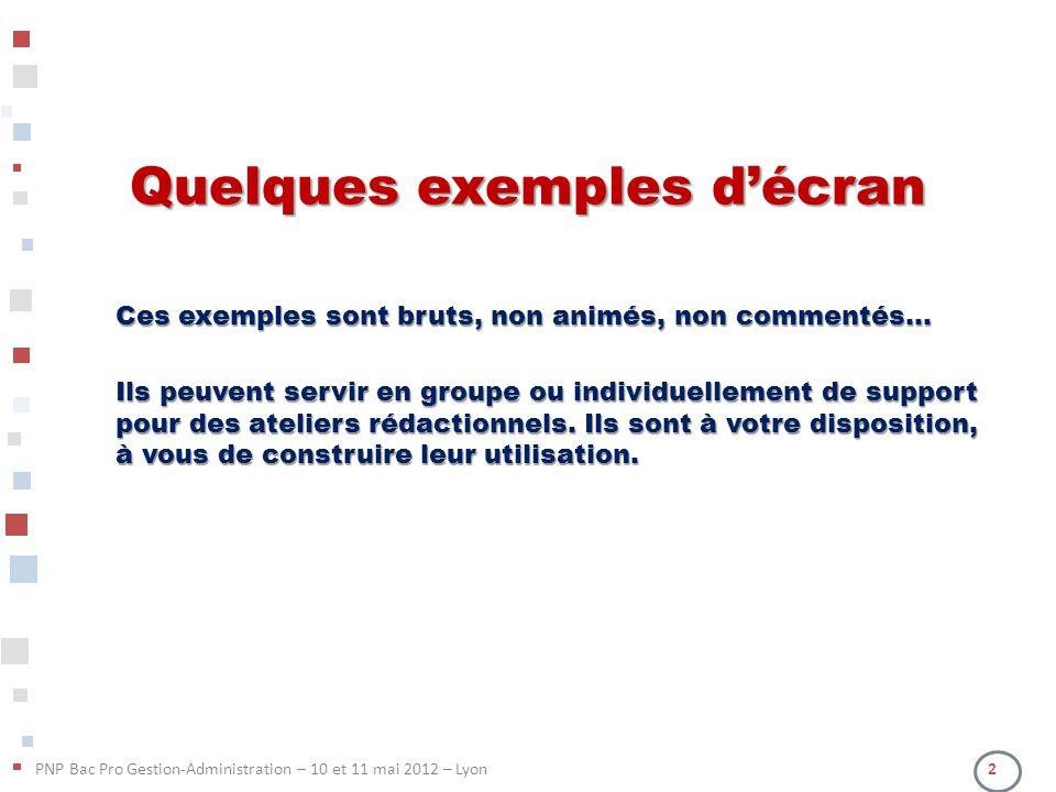 PNP Bac Pro Gestion-Administration – 10 et 11 mai 2012 – Lyon 2 Quelques exemples décran Ces exemples sont bruts, non animés, non commentés… Ils peuve