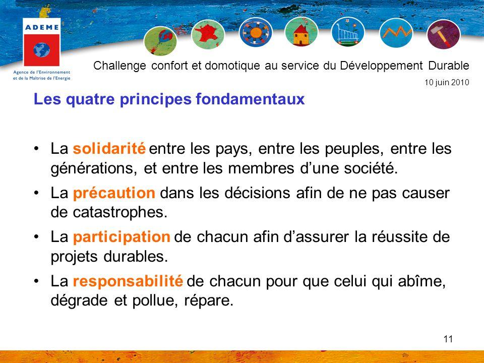 11 Les quatre principes fondamentaux La solidarité entre les pays, entre les peuples, entre les générations, et entre les membres dune société. La pré