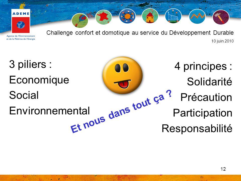12 3 piliers : Economique Social Environnemental Challenge confort et domotique au service du Développement Durable 10 juin 2010 4 principes : Solidar