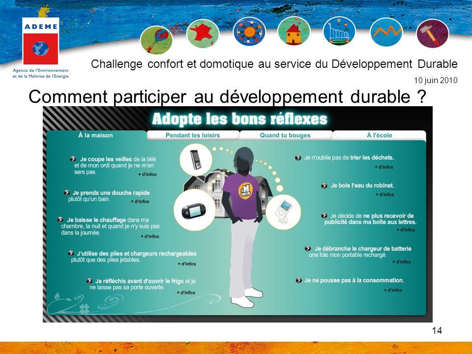 14 Comment participer au développement durable ? Challenge confort et domotique au service du Développement Durable 10 juin 2010