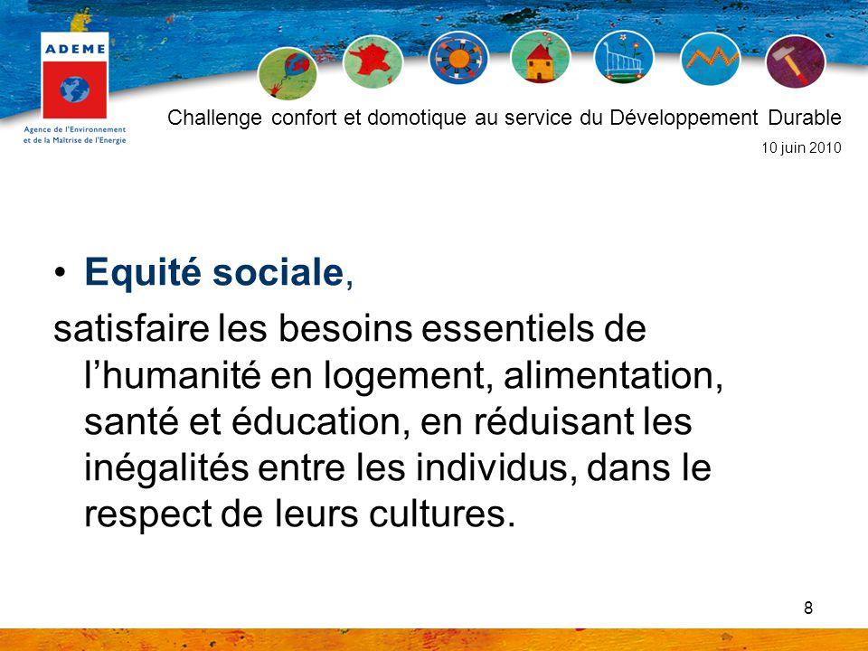 8 Equité sociale, satisfaire les besoins essentiels de lhumanité en logement, alimentation, santé et éducation, en réduisant les inégalités entre les