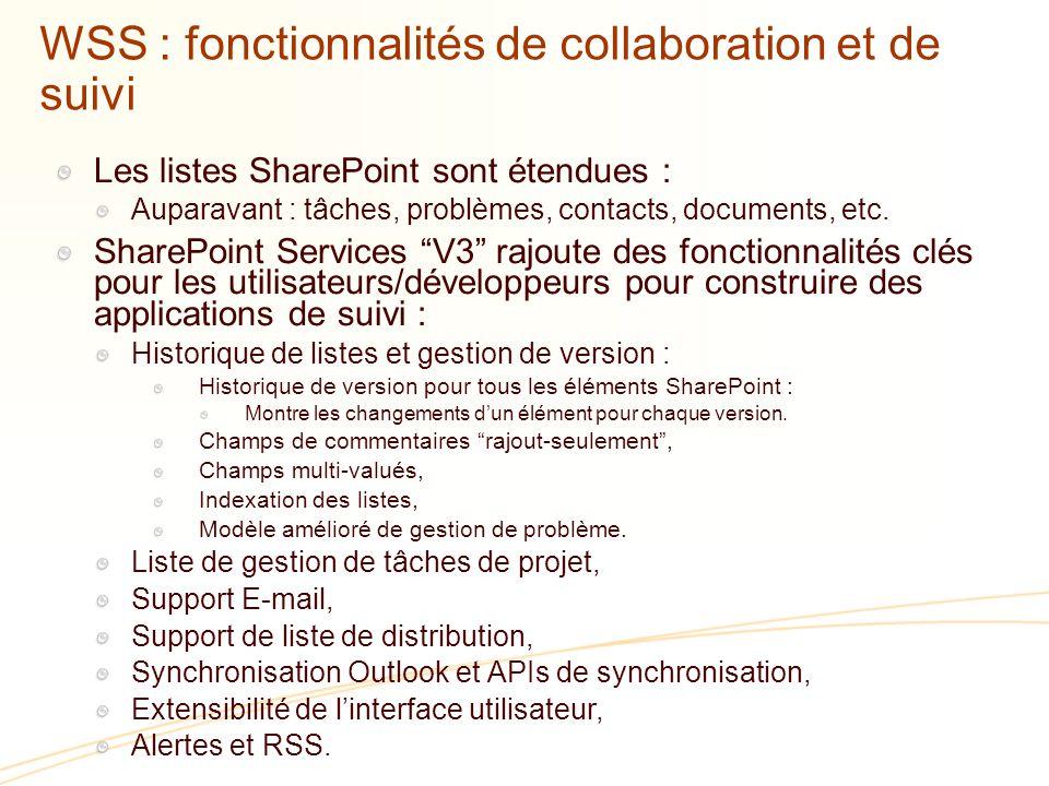 WSS : fonctionnalités de collaboration et de suivi Les listes SharePoint sont étendues : Auparavant : tâches, problèmes, contacts, documents, etc.