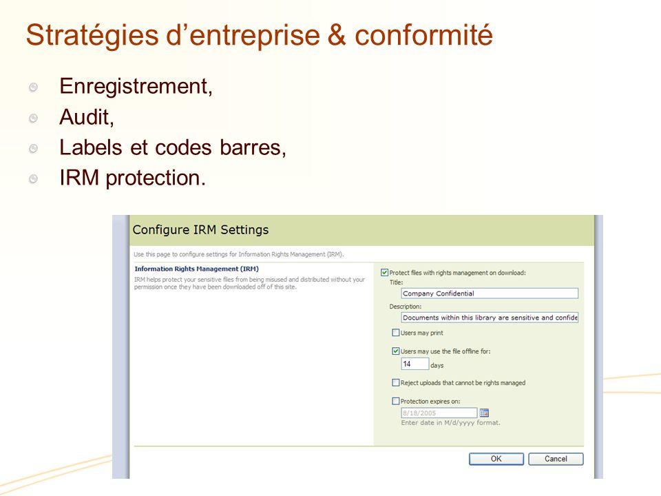 Stratégies dentreprise & conformité Enregistrement, Audit, Labels et codes barres, IRM protection.