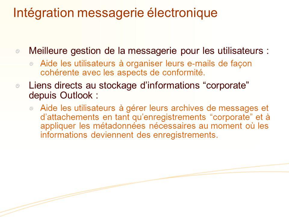 Intégration messagerie électronique Meilleure gestion de la messagerie pour les utilisateurs : Aide les utilisateurs à organiser leurs e-mails de façon cohérente avec les aspects de conformité.
