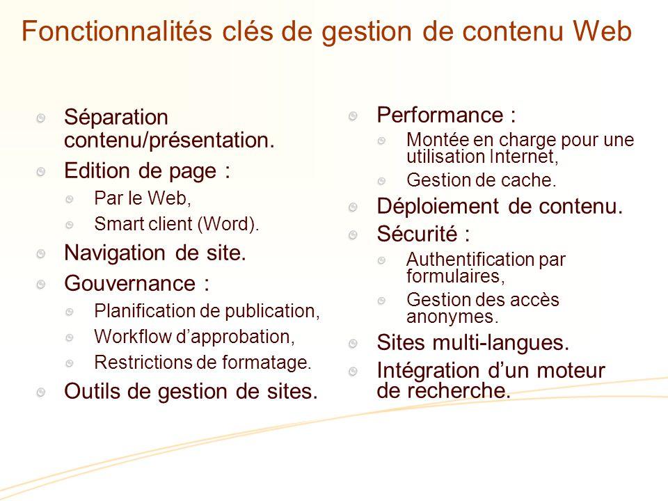 Fonctionnalités clés de gestion de contenu Web Séparation contenu/présentation.