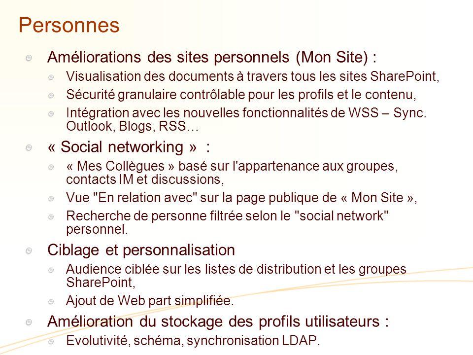 Personnes Améliorations des sites personnels (Mon Site) : Visualisation des documents à travers tous les sites SharePoint, Sécurité granulaire contrôlable pour les profils et le contenu, Intégration avec les nouvelles fonctionnalités de WSS – Sync.