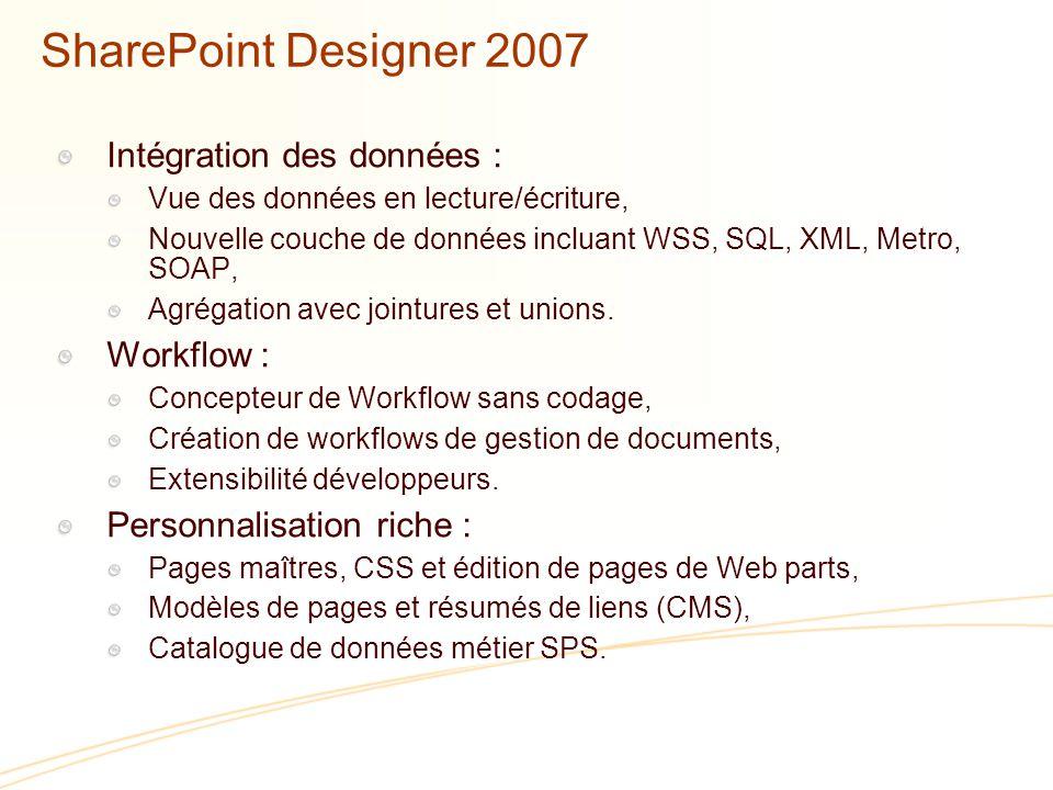 SharePoint Designer 2007 Intégration des données : Vue des données en lecture/écriture, Nouvelle couche de données incluant WSS, SQL, XML, Metro, SOAP, Agrégation avec jointures et unions.