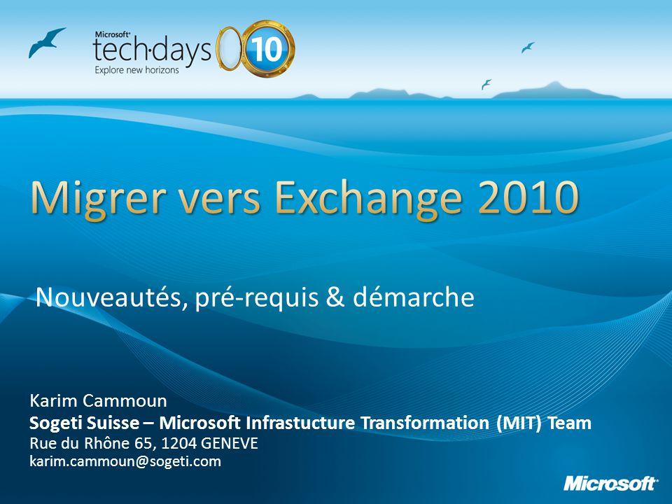 Outil produit par léquipe Microsoft Exchange (You had me at EHLO) pour le dimensionnement des rôles Mailbox: http://msexchangeteam.com/archive/2009/11/09/453117.as px http://msexchangeteam.com/files/12/attachments/entry453 145.aspx Permet davoir des recommandations pour Le Nombre de serveurs, de DB, de DAG Les LUN, Backup, Réseau, RAM et CPU Type de Storage, capacité et caractéristiques