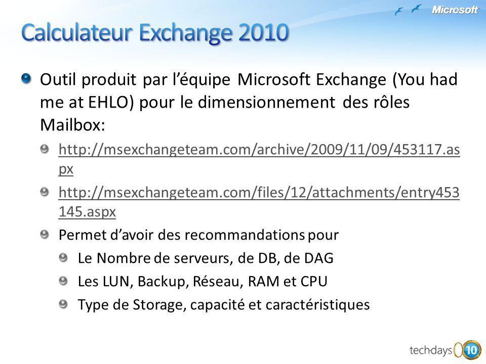 Outil produit par léquipe Microsoft Exchange (You had me at EHLO) pour le dimensionnement des rôles Mailbox: http://msexchangeteam.com/archive/2009/11
