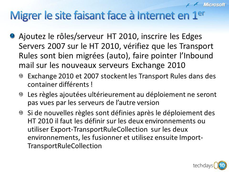 Ajoutez le rôles/serveur HT 2010, inscrire les Edges Servers 2007 sur le HT 2010, vérifiez que les Transport Rules sont bien migrées (auto), faire poi