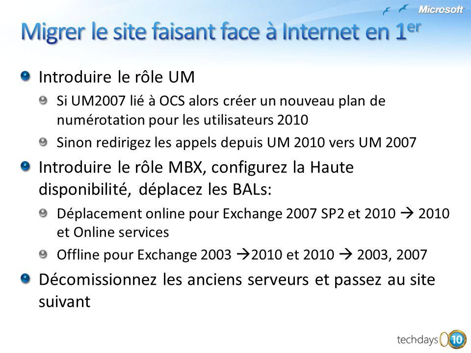 Introduire le rôle UM Si UM2007 lié à OCS alors créer un nouveau plan de numérotation pour les utilisateurs 2010 Sinon redirigez les appels depuis UM