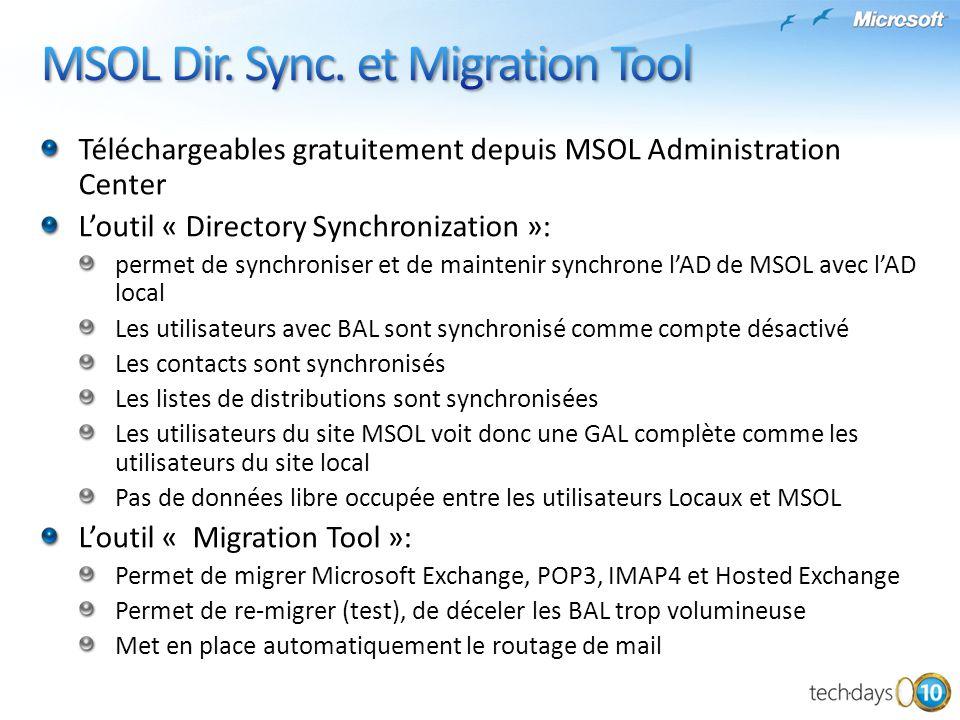 Téléchargeables gratuitement depuis MSOL Administration Center Loutil « Directory Synchronization »: permet de synchroniser et de maintenir synchrone